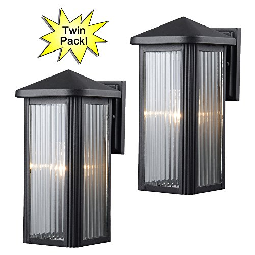 Hardware House 23-0667 Black Outdoor Patio / Porch Wall Mount Exterior Lighting Lantern Fixtures with Clear Strip Glass - Twin - Outdoor Wall Mount Lantern Black