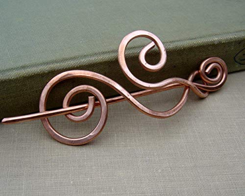 Copper Shawl Pin, Waves and Swirls Sweater Brooch Handmade in Oregon -