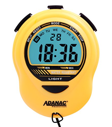 MARATHON ST083013YE Adanac Digital Glow Stopwatch Timer - Battery Included (Yellow)