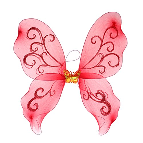 - Homyl Fairy Princess Butterfly Wings Halloween Costumes Girl Party Dress Ups - Red, 44cm × 43.5cm × 0.2cm