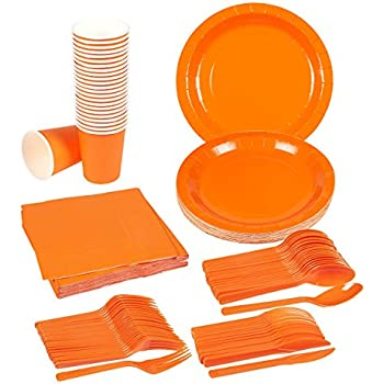 Amazon.com: Disposable Dinnerware Set - Serves 24 - Orange Party ...