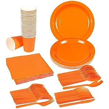 Disposable Dinnerware Set - Serves 24 - Orange Party Supplies - Includes Plastic Knives Spoons  sc 1 st  Amazon.com & Amazon.com: Disposable Dinnerware Set - Serves 24 - Orange Party ...