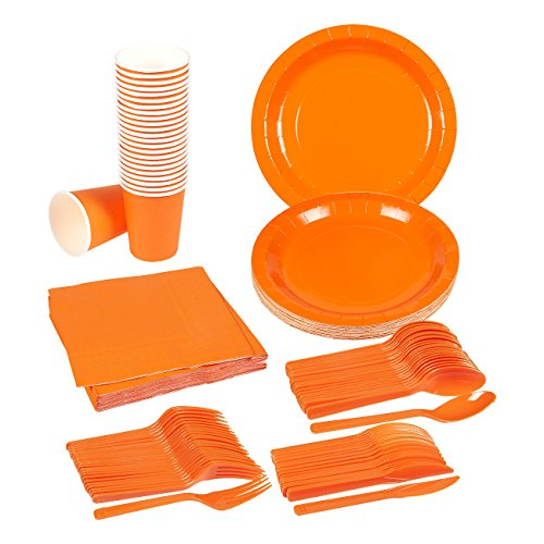 Disposable Dinnerware Set - 24-Set Paper Tableware - Dinner Party Supplies for 24 Guests, Including Knives, Spoons, Forks, Paper Plates, Napkins and Cups, Neon (Orange Dinner Fork)