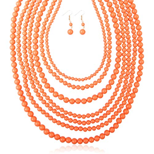 RIAH FASHION Multi Layer Beaded Bubble Statement Necklace - Round Ball Chunky Drape Bib Collar 7 Strands (Peach) ()