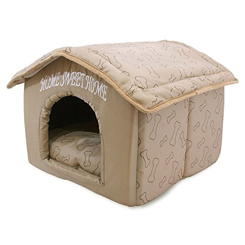 (Best Pet Supplies Portable Indoor Pet House - Perfect for Cats and Small Dogs, Easy to Assemble - Brown)