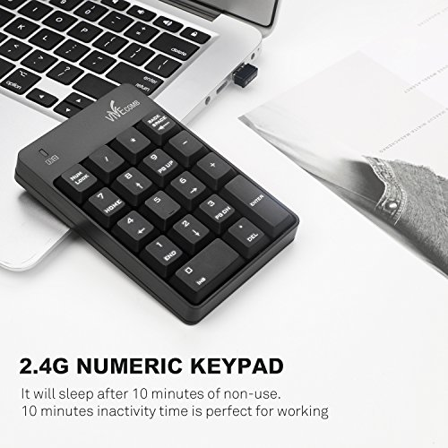 Wireless Numeric Keypad, Vive Comb External Number Pad Portable Numpad With 2.4G Mini USB Receiver for Laptop, Desktop, PC, Notebook-Black by Vive Comb (Image #3)