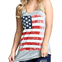 Clearance! Promotion! Women Vest Tops Seaintheson Women American Flag Print Sleeveless Tank Tops Casual Loose T-Shirts Summer Shirts Cami Lace Blouse (Gray, S)