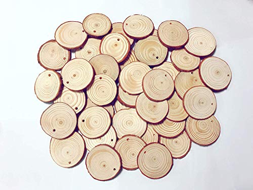 Small Wood Slices 2 24 Inch 30 Pcs Predrilled Wooden Circles With Hole Natural Hemp Ropes For Arts And Crafts Diy Craft Rustic Wedding Christmas
