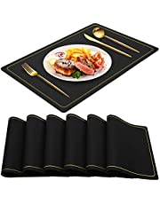 WEHVKEI Placemats for Dining Table Set of 6, PU Leather Washable Wipeable Place Mats for Kitchen Table, Waterproof Non Slip Table Mats for Easter Thanksgiving Christmas New Year Party Home Decor