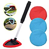AutoEC Auto Car Windshield Cleaner, Extendable Handle Window Cleaner Brush Kit Comes with 4 Packs Washable and Reusable Pads(2 Wet Use 2 Dry Use)
