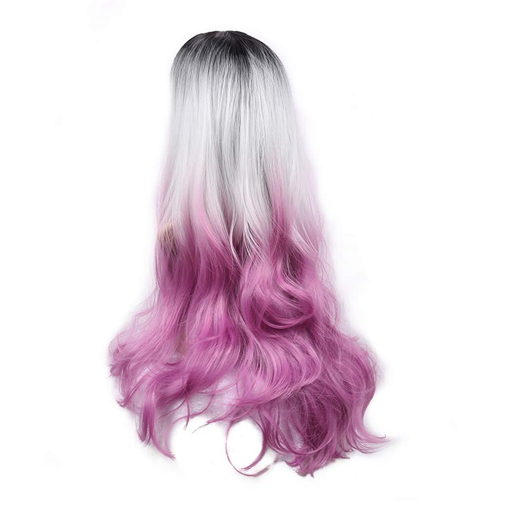 Haarteile für Erwachsene Langes lockiges Haar Cosplay Perücke Volle Spitzenperücke Perücke Pulver Farbverlauf Perücke Spitzenperücke 60 cm Frauen in der Perücke Perücken (Farbe   Farbe, Größe   60cm) c19c64
