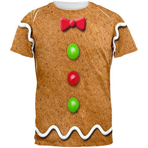 Halloween Man Gingerbread Costumes (Gingerbread Man Costume All Over Adult T-Shirt -)