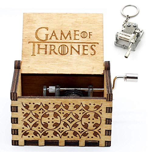 HBO Games of Thrones Season 8 Collectible Gift Set | Hand Crank Carved Wooden Music Box | Plays Main Theme Song | Includes A Free Mini Music Box Keychain (Brown -
