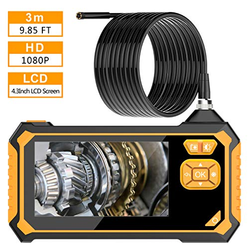Industrial Endoscope Camera, VITCOCO 4.3 inch LCD Screen 1080p HD Borescope Digital Video Inspection Camera IP67 Waterproof with 2600mAh Battery 5.5mm Semi-Rigid Flexible Snake Camera 3m/9.8ft