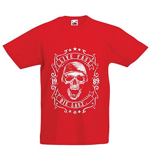 lepni.me Camiseta para Niño/Niña Viva rápido - muera último - Citas de Paseo en Bicicleta, Ropa de Motocicleta, Encanta...