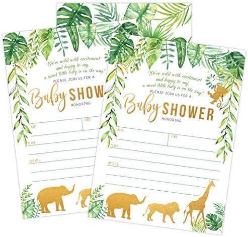 Jungle Safari Baby Shower Invitations, Green and Gold Neutral Safari Animal Invitation, 20 Fill in Invitations and Envelopes, Boy or Neutral Baby Shower Party, Monkey, Lion, Elephant, Giraffe