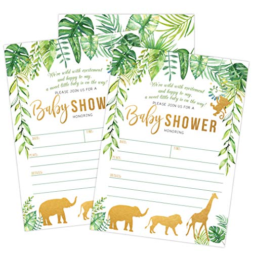 Jungle Safari Baby Shower Invitations, Green and Gold Neutral Safari Animal Invitation, 20 Fill in Invitations and Envelopes, Boy or Neutral Baby Shower Party, Monkey, Lion, Elephant, Giraffe
