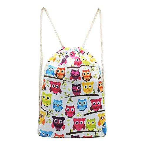 Artone Owls Drawstring Bag Travel Daypack Sports Portable Backpack White by Artone (Image #2)