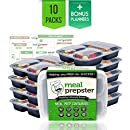 Meal Prepster 3 Compartment Meal Prepping Containers (10 Pack, 32 oz) - Reusable, Airtight, Plastic Food Storage Lunch Bento Box Containers w/ Lids - BPA-Free [Incl. Premium Printable Planners]