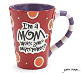 "I'm A Mom, What's Your SuperPower?"" 12oz Coffee Mug Great Gift for Mother (1, Red)"