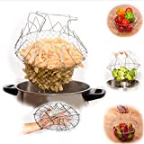 Collapsible Tike Hoop - Stainless Steel Foldable Basket Fried Potato Chip Strainer Outdoor Bbq Picnic Storage - Nestling Collapsable Tiddler Field Goal Youngster Nipper Handbasket - 1PCs