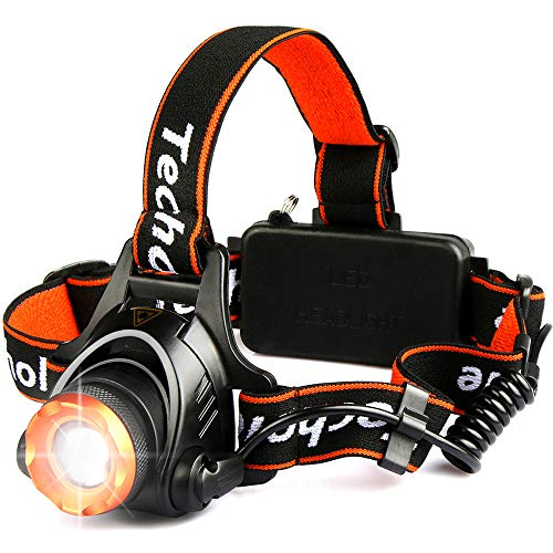 Techole Headlamp Flashlight Bright Headlight – 2000 Lumens Waterproof and Rechargeable Head Lamp Up to 500ft Range with 3 Modes Red Light Adjustable Strap, LED Headlamps for Camping, Hiking, Running