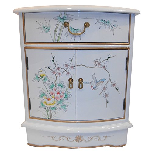 Oriental End Table Painted Bird and Flower Gold Leaf.