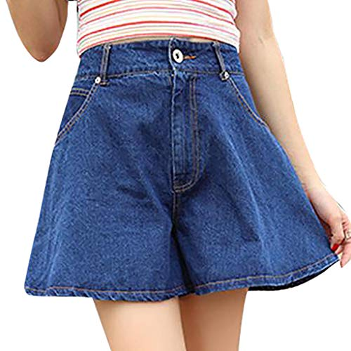 - Pumsun Womens Loose High-Waisted Broad-Legged Jeans Shorts Jeans Culottes (Dark Blue, S)