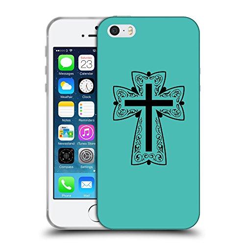 GoGoMobile Coque de Protection TPU Silicone Case pour // Q07880634 Christian Cross 13 Turquoise // Apple iPhone 5 5S 5G SE