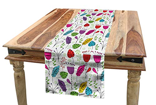 Lunarable Colorful Table Runner, Botanical Garden Pattern with Flowers and Leaves in Lively Colors Springtime Theme, Dining Room Kitchen Rectangular Runner, 16