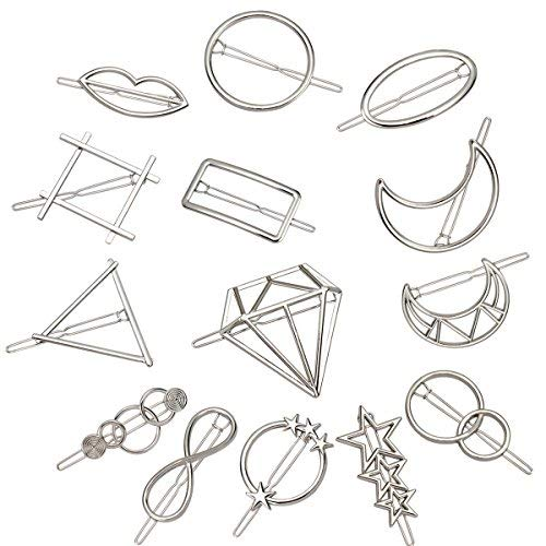 ANBALA 14pcs Minimalist Dainty Silver Geometric Metal Hairpin Hair Clip Clamps for Women, Circle, Triangle, Rhombus, Star, Moon, Diamond, Infinity etc