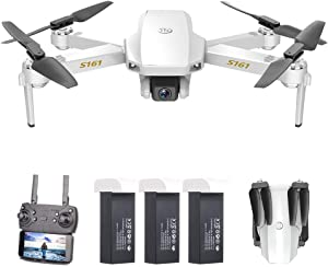 GoolRC Mini Pro Drone with Camera S161,Foldable FPV Drone with 4K HD Camera, Optical Flow Positioning RC Quadcopter with Gesture Photos/Video, Altitude Hold, Track Flight, Storage Bag and 3 Batteries