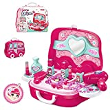 BonnieSun 19pcs Little Girls Pretend Makeup Set Cosmetic Beauty Salon Toy Pretend Dress-up Kit for Toddlers Kids With Mirror
