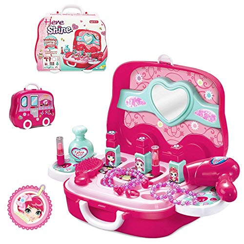 BonnieSun 19pcs Little Girls Pretend Makeup Set Cosmetic Beauty Salon Toy Pretend Dress-up Kit for Toddlers Kids With Mirror