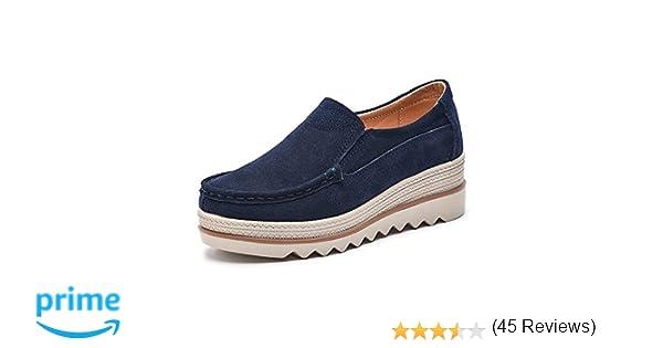Mujer Mocasines Plataforma Casual Loafers Primavera Verano Zapatos de Cuña 5cm Negro Azul Caqui 35-42 Azul 35: Amazon.es: Zapatos y complementos