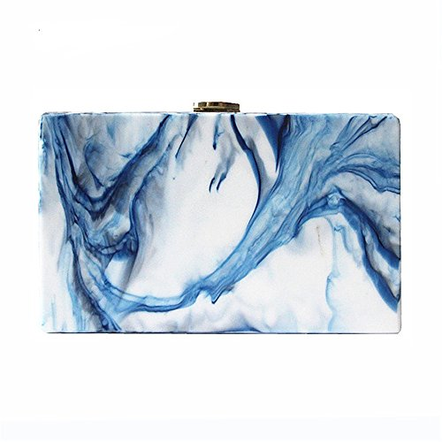 Dirmmis Woman wallet fashion vintage acrylic handbag party Clutch landscape print Prom evening - Vintage Print Clutch