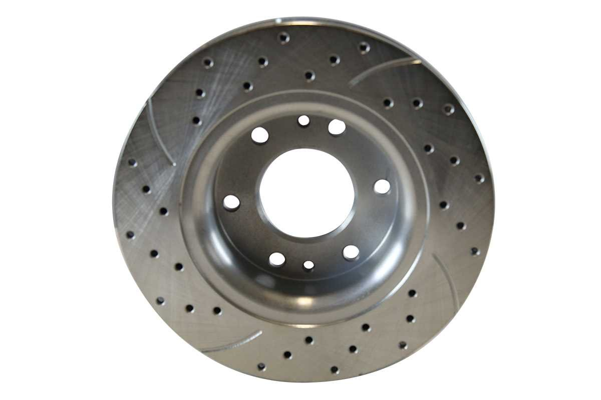 Prime Choice Auto Parts BRKPKG003412 Pair of Front Drilled and Slotted Rotors and Semi Metallic Pads