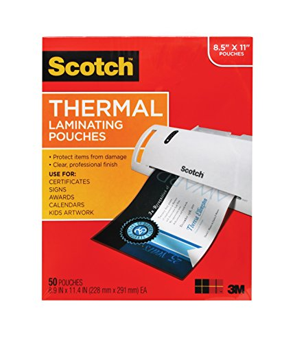 Scotch Thermal Laminating Pouches, 8.9 x 11.4-Inches, 3 mil thick, 50-Pack (TP3854-50),Clear ()