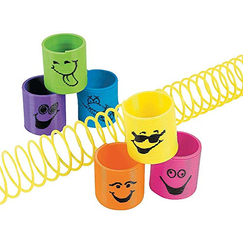 Kicko Plastic Mini Goofy Smile Face Springs 1 3/8 Inches - Pack of 12 - Assorted Colored Cool Funny Faces Magic Coil Springs - for Kids Great Party Favors, Bag - Great Bags Smile