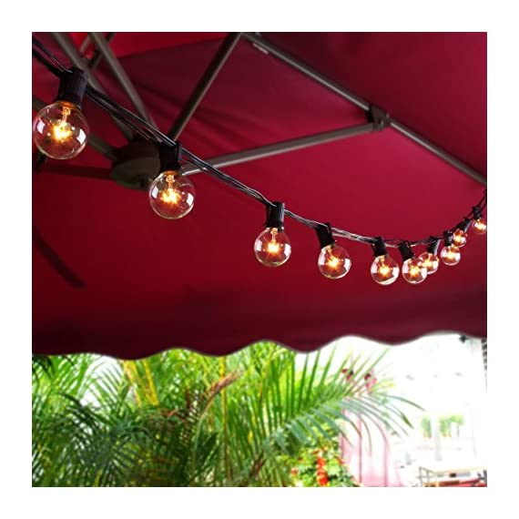 ZITRADES Globe String Lights with G40 Bulbs UL Listed 25ft Outdoor String Lights for Patio Garden Commercial Party - Brighten up your space with our 25ft G40 Patio String Lights. Each strand includes 25 clear, vintage style bulbs, so you can bring a little magic and charm to your patio, backyard, bedroom, party…whatever! Suitable for indoor or outdoor use, G40 string lights designed with Edison Vintage style filaments, produce a moderate, ambient light at 500lm per bulb. The electrical plug with a spare fuse for short circuit protection .UL listed ,AC 110v ,you can connect up to 3 strings to light up even larger spaces. - patio, outdoor-lights, outdoor-decor - 51x8V4v9UbL. SS570  -