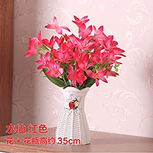 LighSCH Artificial Flowers Fake Bouquet Silk Flower Narcissus Red 1
