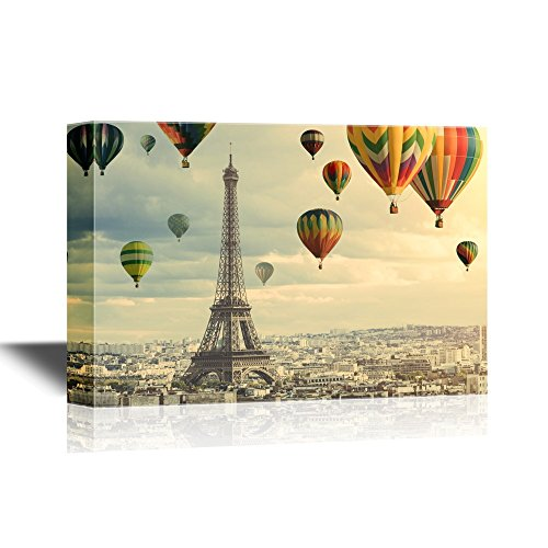 Colorful Hot Balloons Flying Above the Eiffel Tower in Paris Gallery