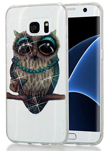 Galaxy S7 Edge Case,Thin Soft TPU High Transparent Flash Powder Phone Cover for Samsung S7Edge G9350 G935p G935u G935w8 G935F G935 G935a G935Fd Shock-Absorption Bumper Anti-Scratch Clear Back Grey Owl