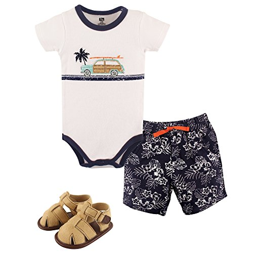 Hudson Baby Unisex Baby Cotton Bodysuit, Shorts and Shoe Set, Surf Car, 0-3 Months