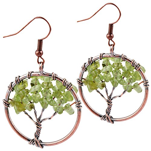 SUNYIK Green Peridot Tree of Life Dangle Earrings for Women(Copper Plated)