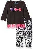 Bon Bebe Baby Girls' 2 Piece Dress Set Lap Shoulder Opening Yummy Leggings, Dalmatian, 0-3 Months