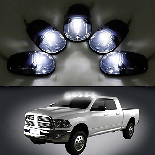 Cab Top Light Mount (Carrep Universal 5x Cab Roof Top Marker Running Lamps Clearance Light Lamp for 1999-2002 Dodge Ram 2500 3500 4500 (T10, Smoked))