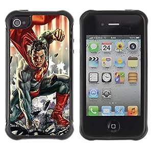 KROKK CASE Apple Iphone 4 / 4S - superhero man children's character comics - Rugged Armor Slim Protection Case Cover Shell