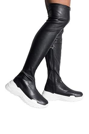 33050b3e99e Amazon.com: AZALEA WANG Faux Leather Stretch Thigh High Chunky ...
