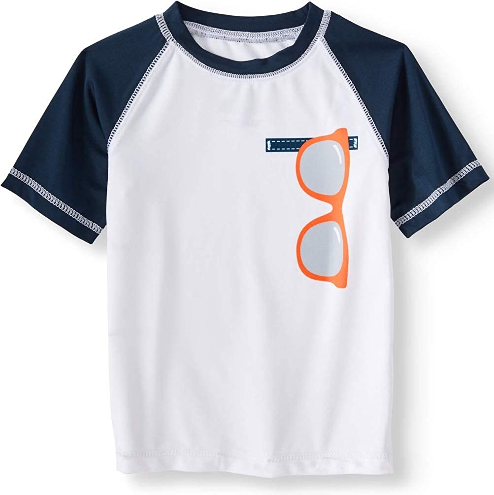 Wonder Nation Toddler Boys Sunglasses White Rash Guard